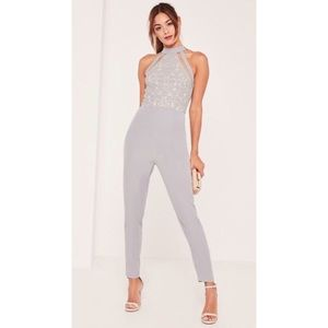 Misguided Lace Hight Lace Jumpsuit High Neck